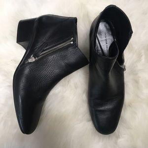 Zara Leather Low Heel Booties